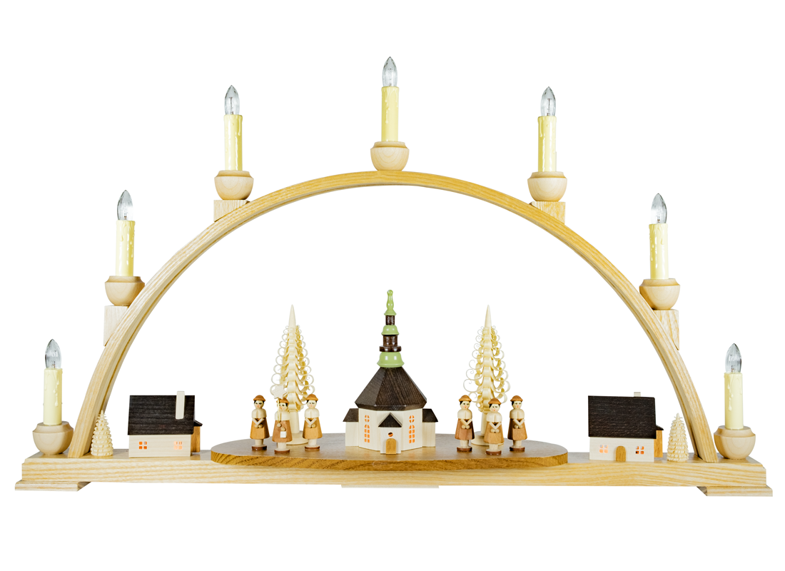 Candle arch (Schwibbogen) with the church of Seiffen - illuminated by electric lights